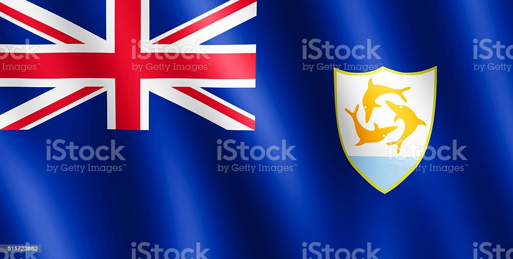 Flag of Anguilla waving in the wind stock photo