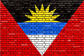 istock flag of Antigua And Barbuda painted on brick wall 505619587