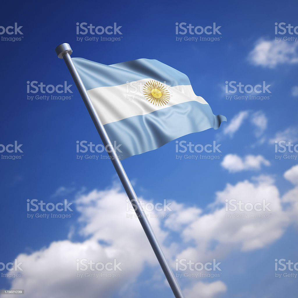 Flag of Argentina against blue sky stock photo