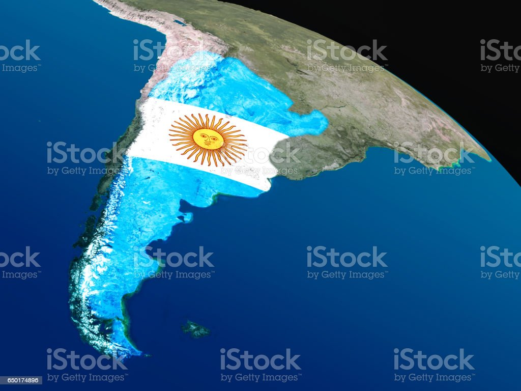 Flag of Argentina from space stock photo