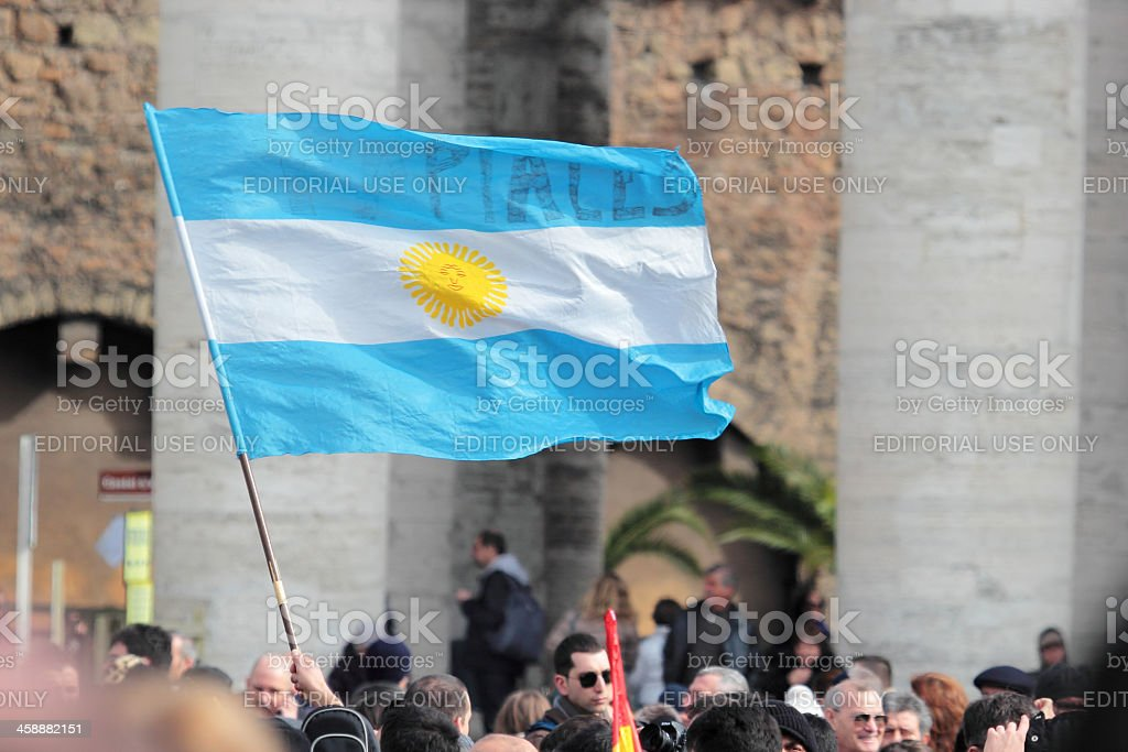 Flag of Argentina in St. Peter Square stock photo