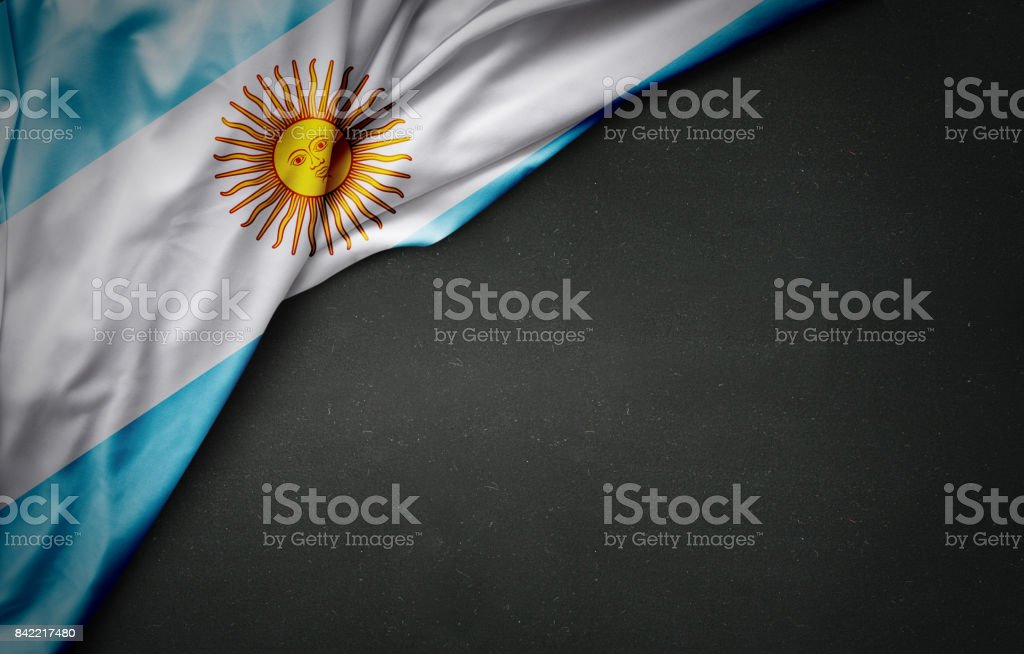 flag of Argentina on blackboard