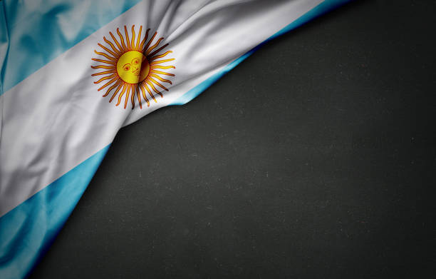 flag of argentina on blackboard - argentina stock pictures, royalty-free photos & images