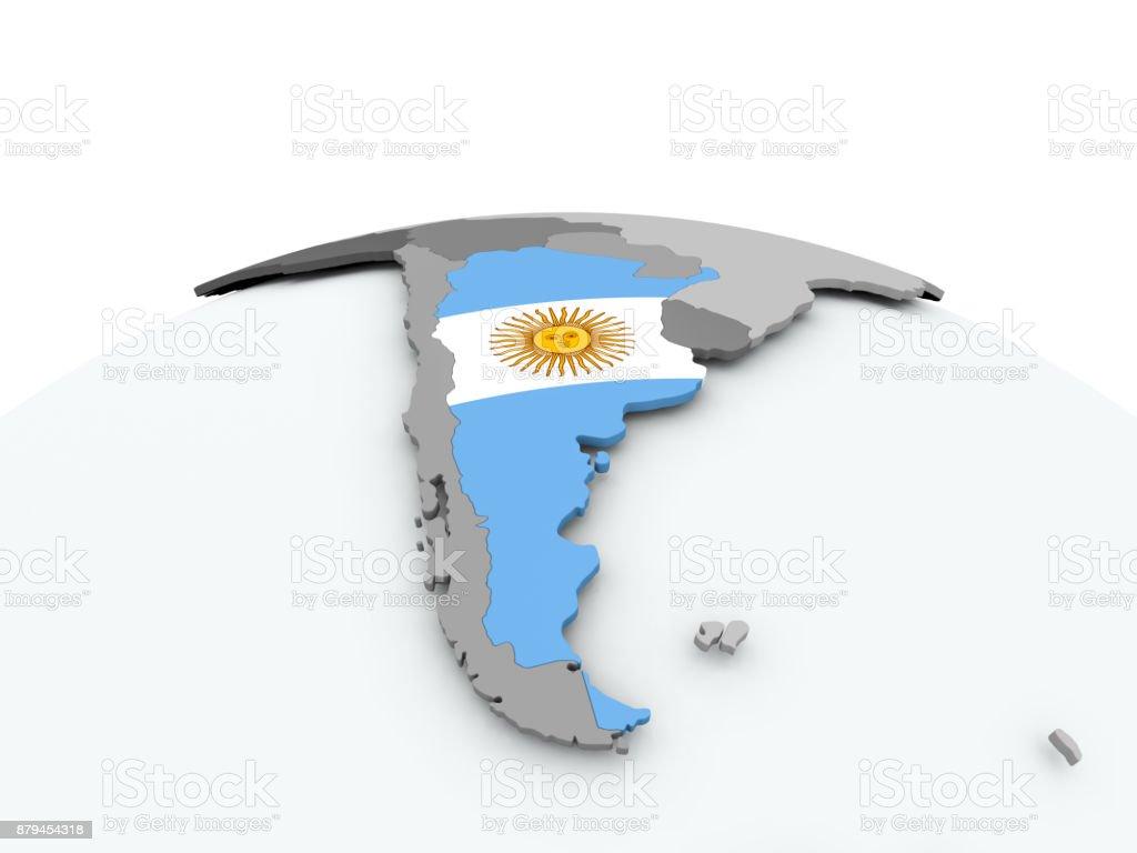 Flag of Argentina on globe stock photo
