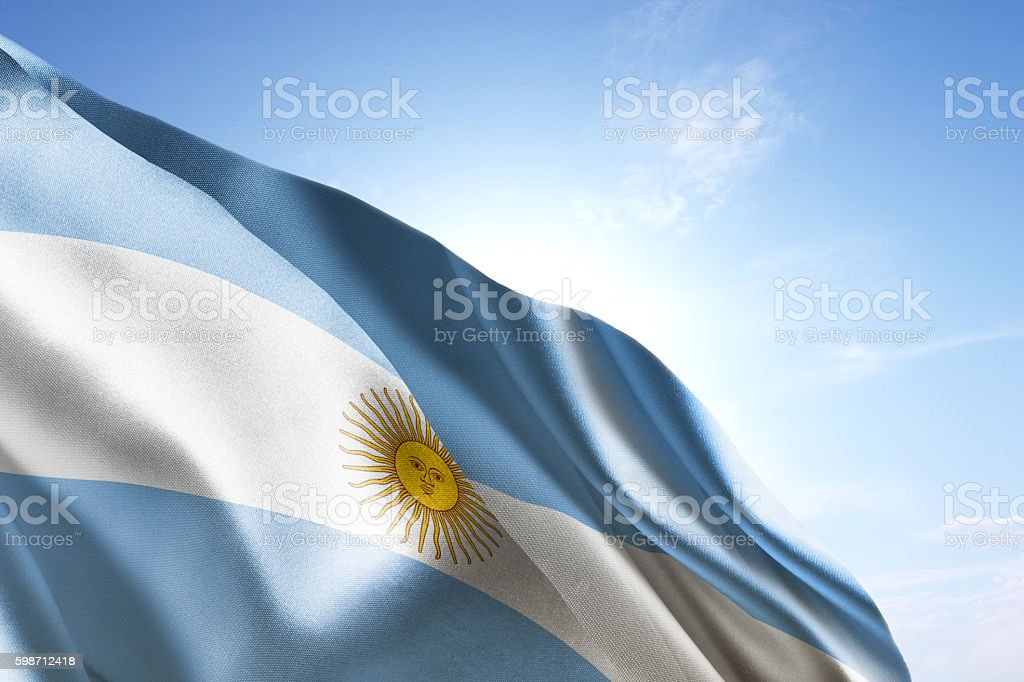 Flag of Argentina waving in the wind - foto de acervo