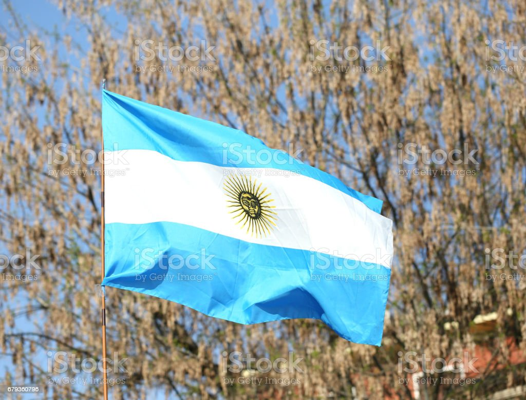 flag of Argentina waving outdoors with trees on background royalty-free stock photo