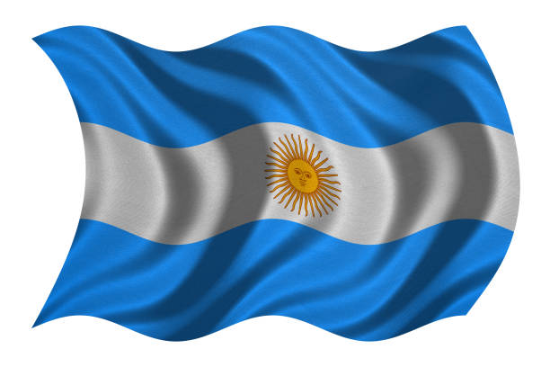 Flag of Argentina wavy on white, fabric texture stock photo