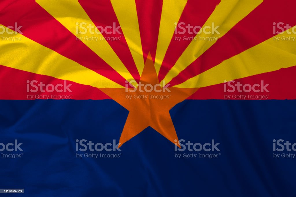 Bandeira do Arizona fundo, o Grand Canyon estado - foto de acervo