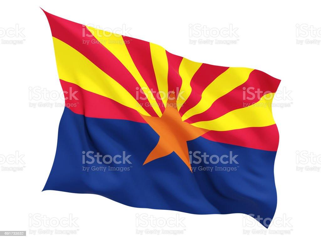 Bandeira do arizona, estado dos Estados Unidos tremulando bandeira - foto de acervo