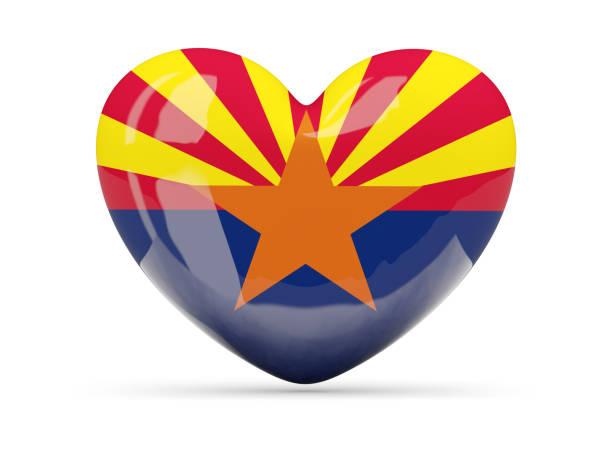 Bandeira do arizona, ícone de coração de estado dos EUA - foto de acervo