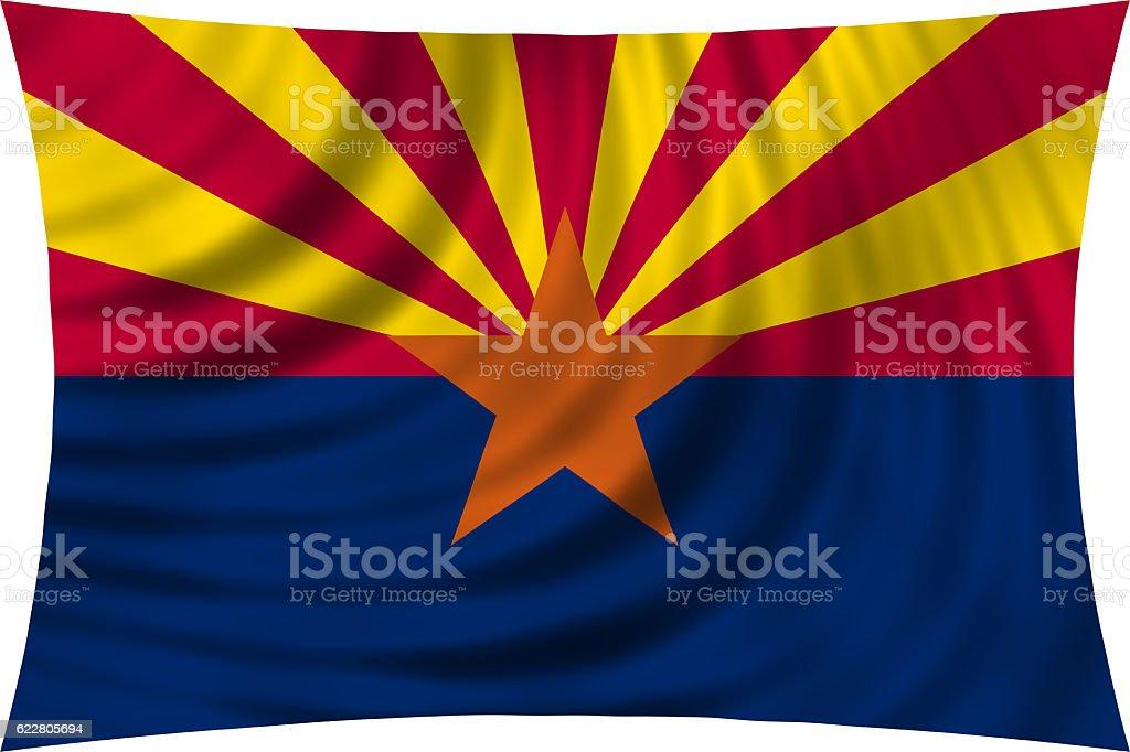Flag of Arizona waving isolated on white - foto de acervo
