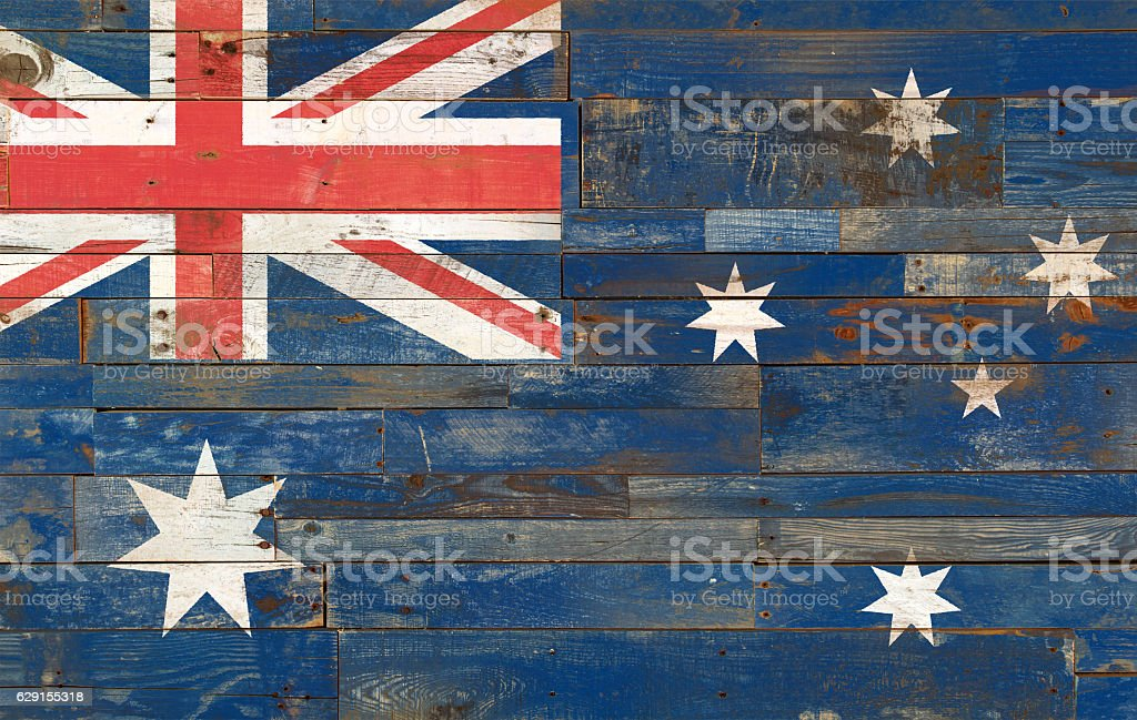 Flag of Australia, painted on a wooden plank stock photo