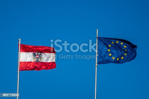istock Flag of Austria and the European Union for the EU Counsil Presidency 989729930