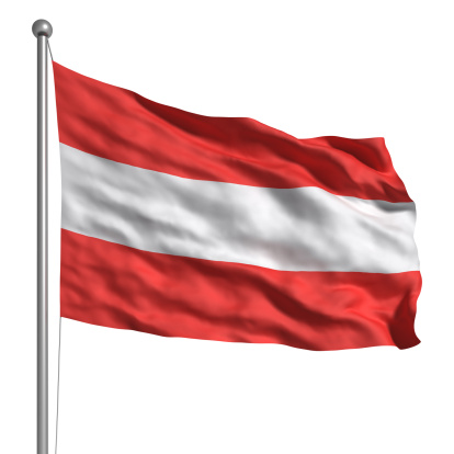 Flag of Austria. Rendered with fabric texture (visible at 100%). Clipping path included.