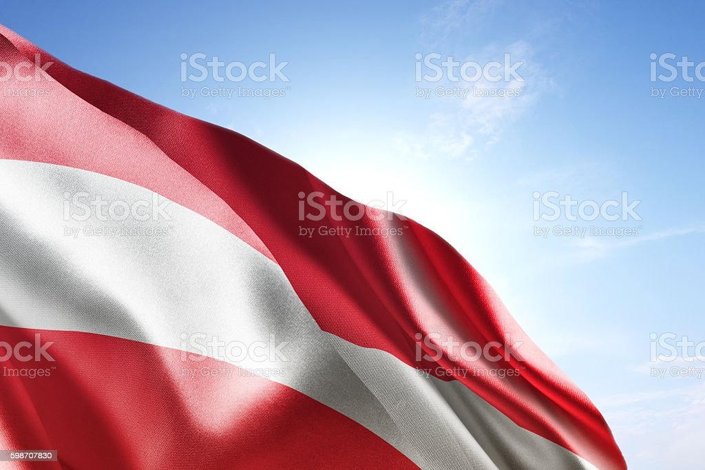 Flag of Austria waving in the wind stock photo