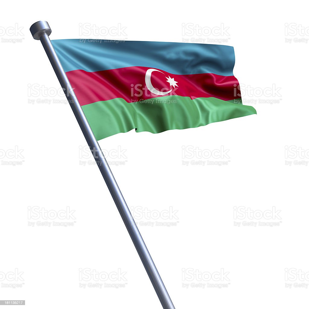 Flag of Azerbaijan isolated on white stock photo