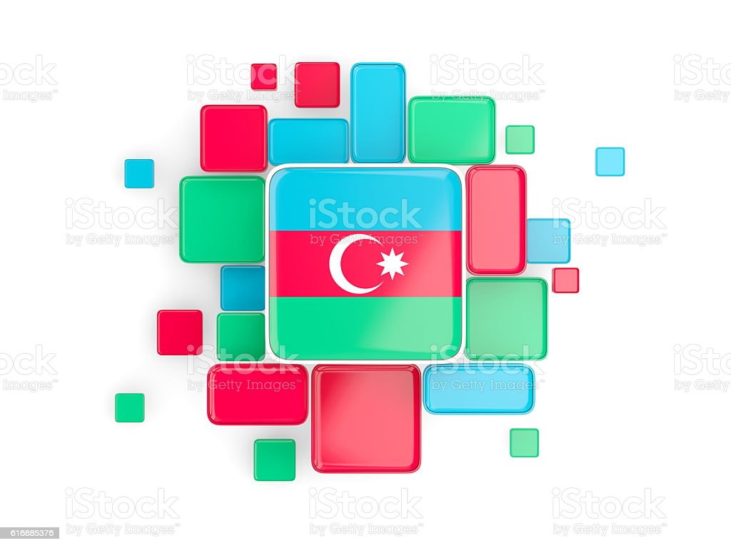 Flag of azerbaijan, mosaic background stock photo