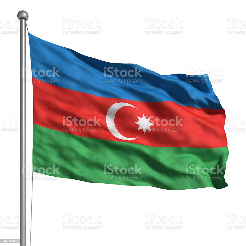 Flag of Azerbaijan (Isolated) stock photo