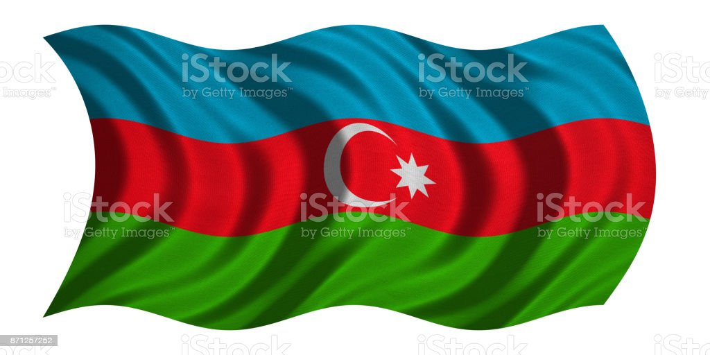 Flag of Azerbaijan wavy on white, fabric texture stock photo