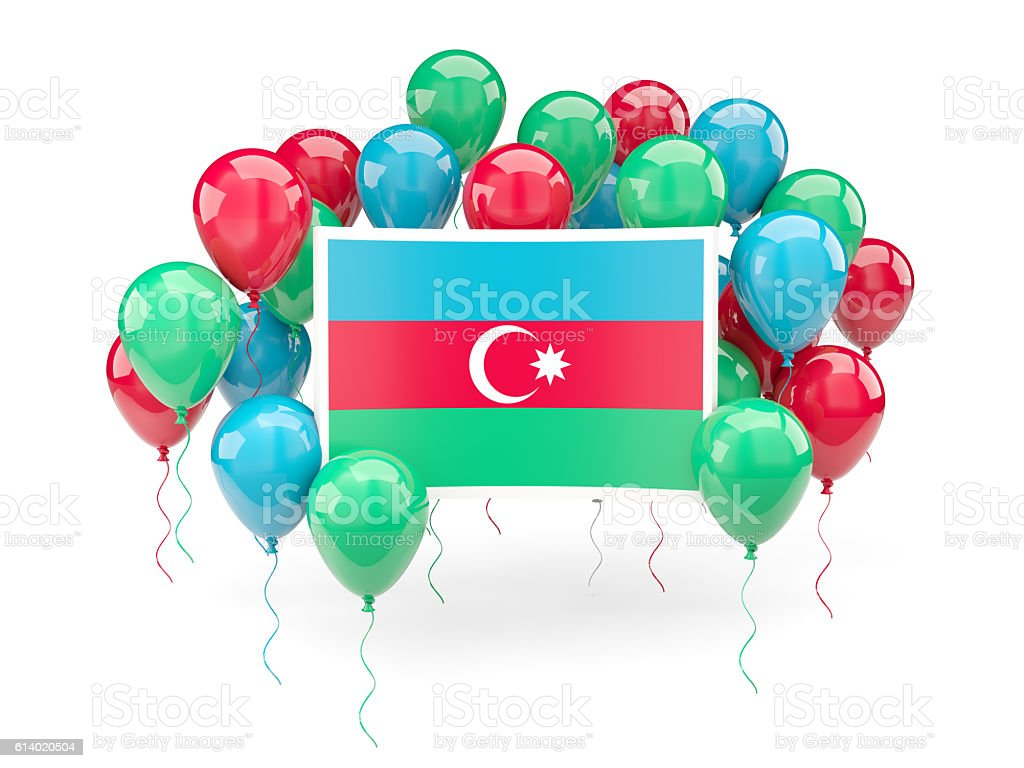 Flag of azerbaijan with balloons stock photo