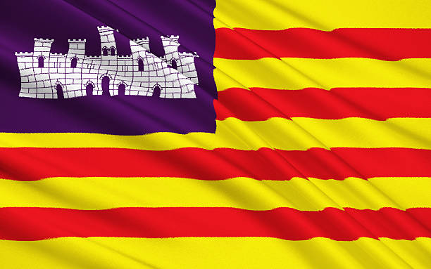 Flag of Balearic Islands, Spain stock photo