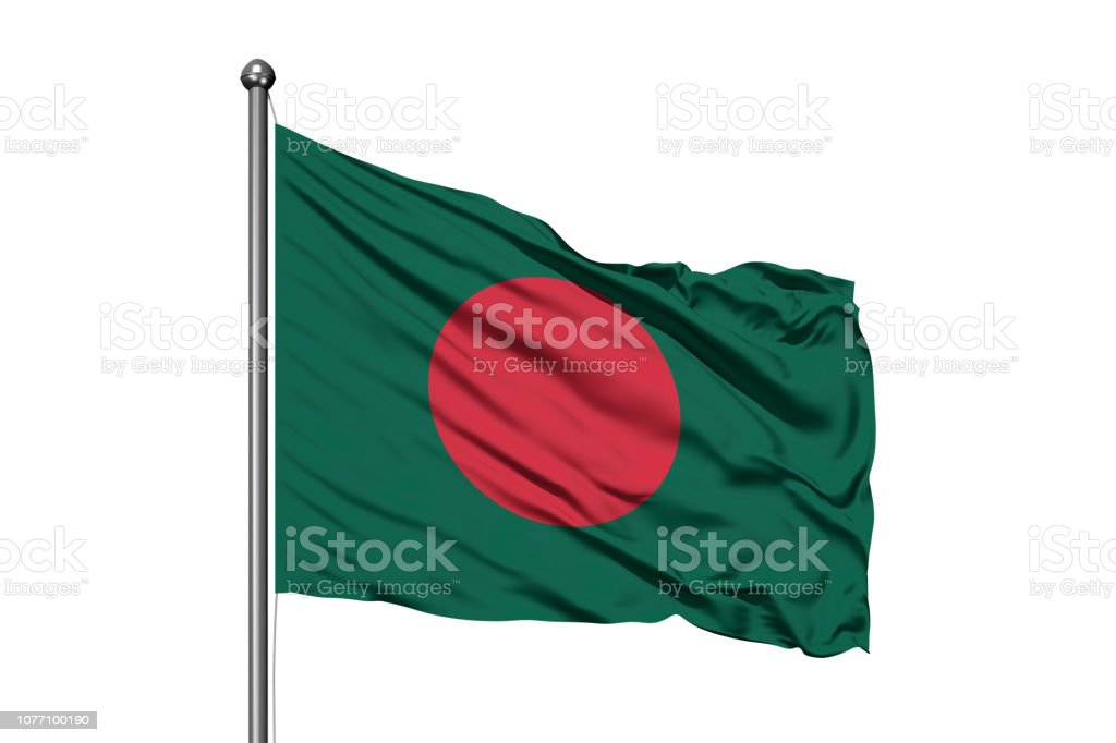 Flag of Bangladesh waving in the wind, isolated white background. Bangladeshi flag. stock photo