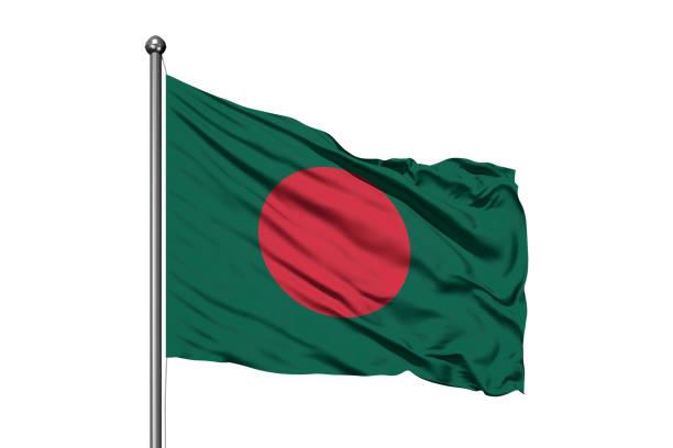 Flag of Bangladesh waving in the wind, isolated white background. Bangladeshi flag. stock photo