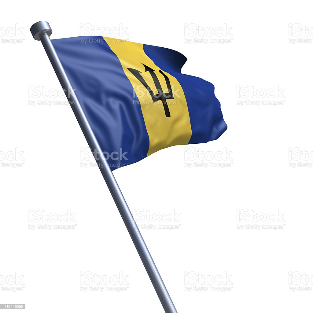 Flag of Barbados isolated on white stock photo