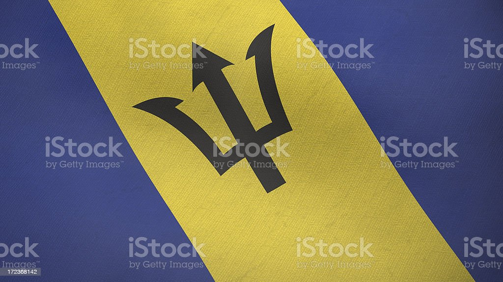 3D flag of Barbados royalty-free stock photo