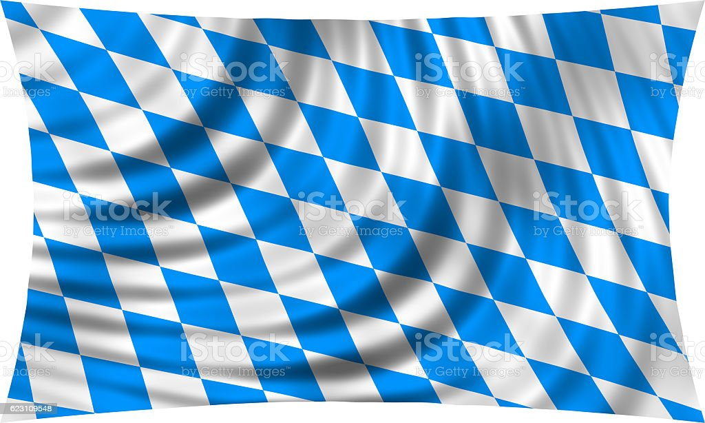 Flag of Bavaria waving isolated on white – Foto