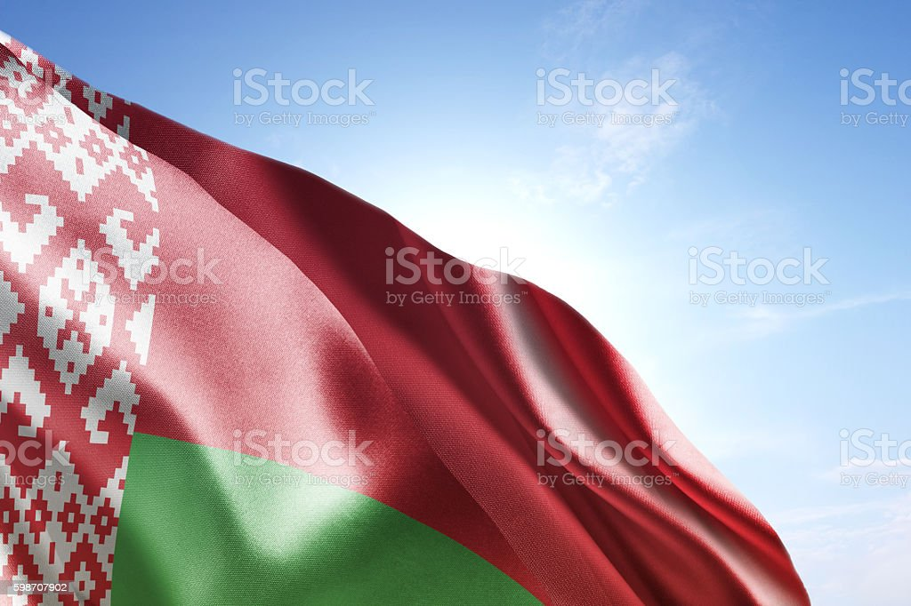 Flag of Belarus waving in the wind stock photo