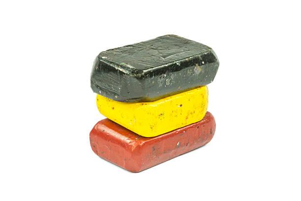 flag of belgium with wax crayon - wachsmalblöcke stock-fotos und bilder