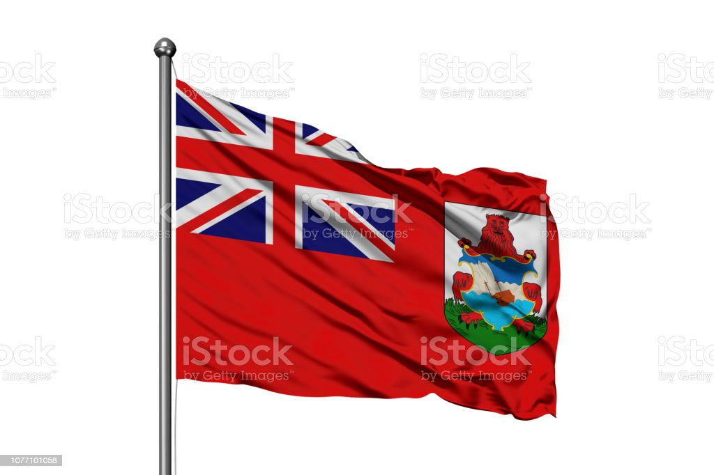Flag of Bermuda waving in the wind, isolated white background. stock photo