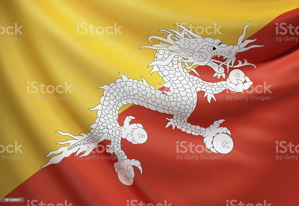 Flag of Bhutan stock photo