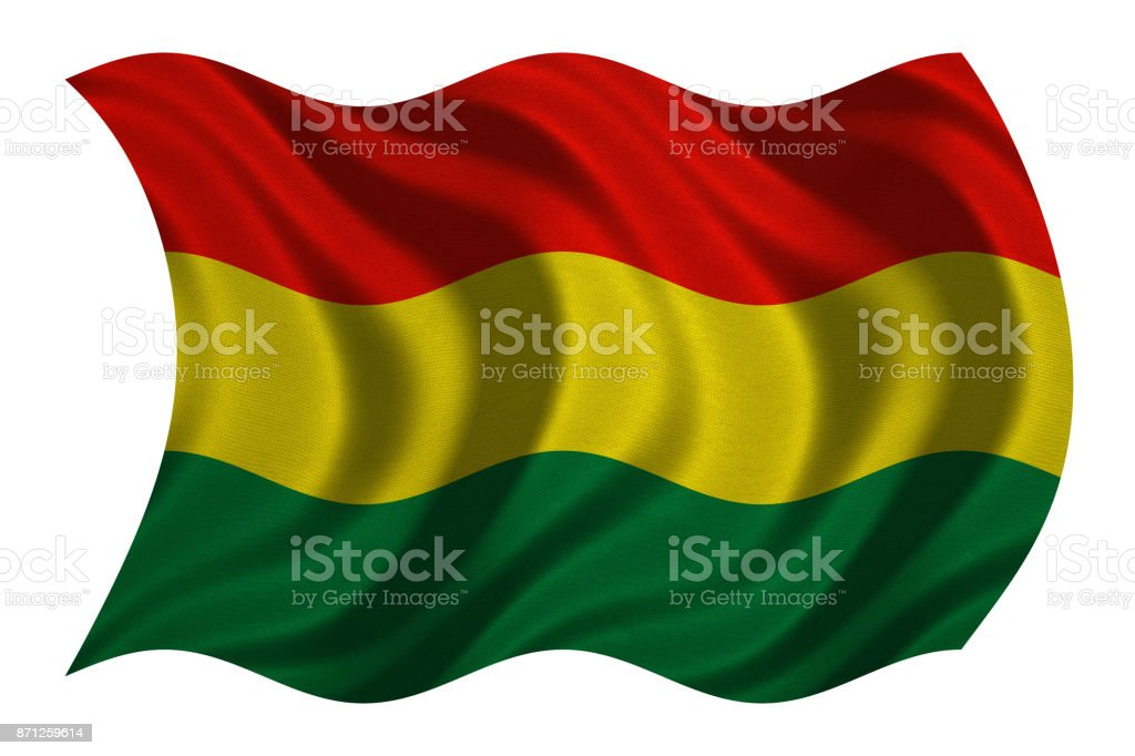 Flag of Bolivia wavy on white, fabric texture stock photo