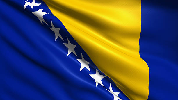 flag of Bosnia and Herzegovina Bosnia and Herzegovina flag with fabric structure bosnia and hercegovina stock pictures, royalty-free photos & images