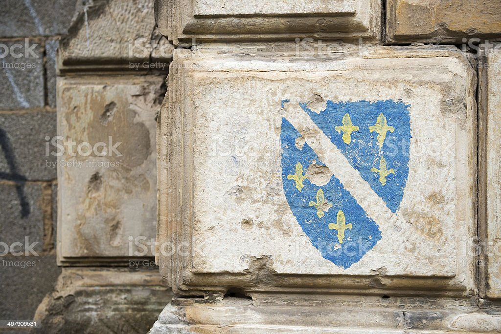 Flag of Bosnia (1992-1998) on building in Mostar stock photo