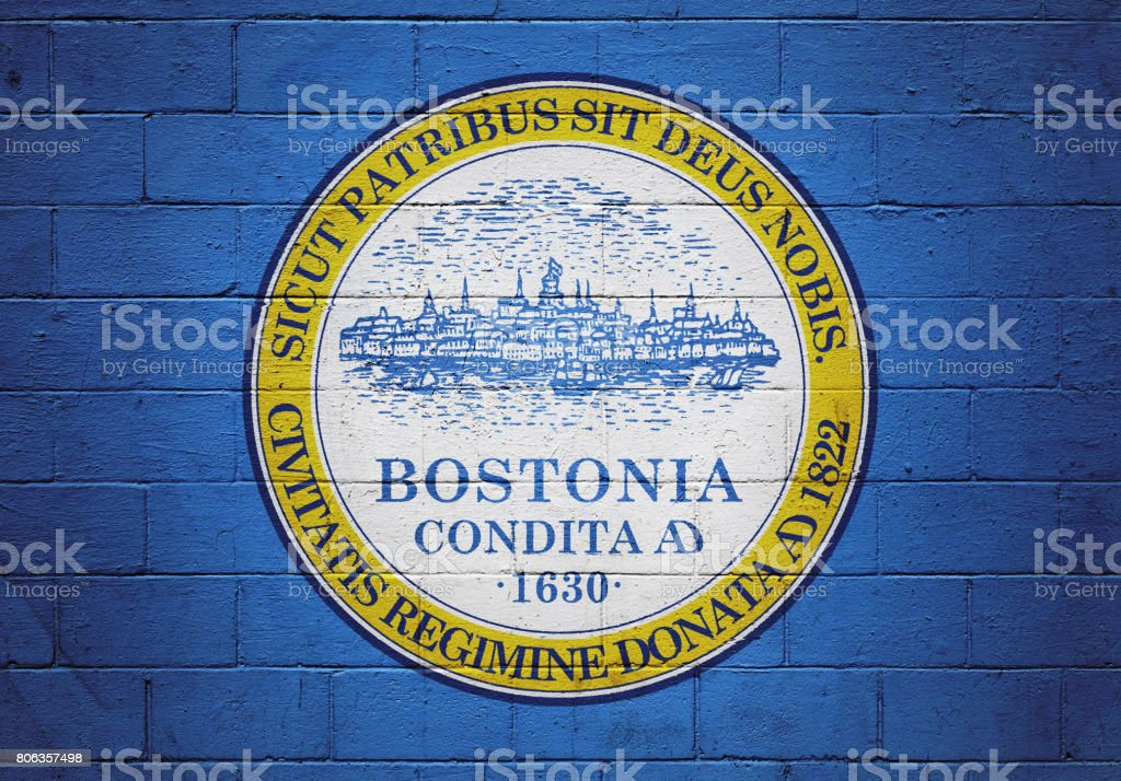 Flag of Boston painted on a wall stock photo