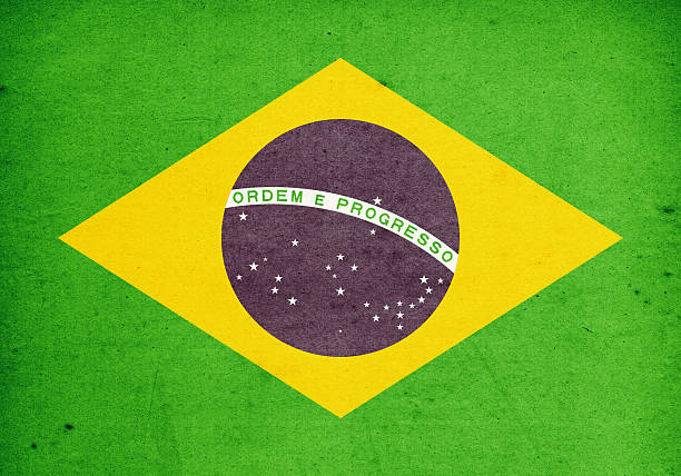 Flag of Brasil Close-Up (High Resolution Image) stock photo