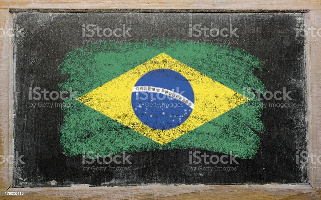 flag of Brazil on blackboard painted with chalk royalty-free stock photo