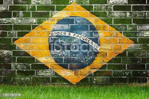 Flag of Brazil painted on a grunge wall
