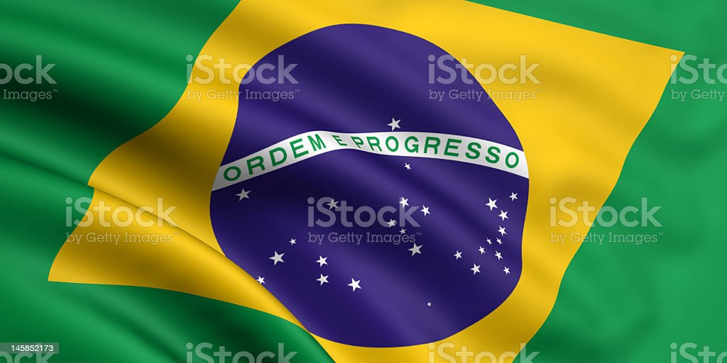 Flag of Brazil with the message Ordem e progresso royalty-free stock photo