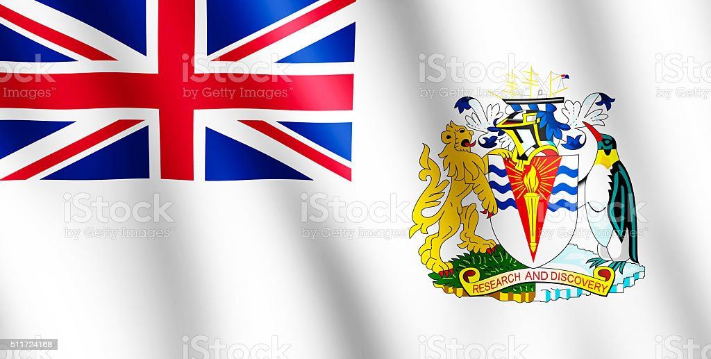 Flag of British Antarctic Territory waving in the wind stock photo