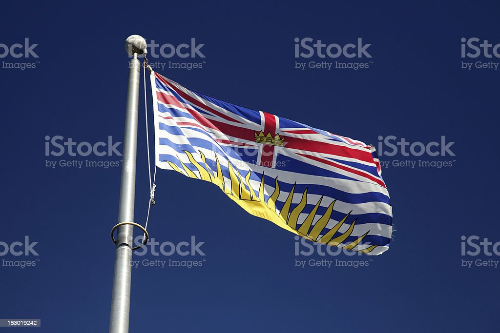 Flag of British Columbia, Canada stock photo