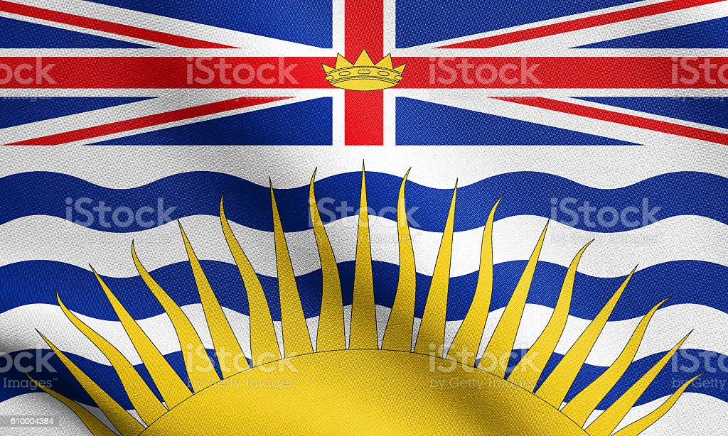 Flag of British Columbia waving, fabric texture stock photo