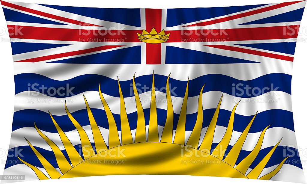 Flag of British Columbia waving isolated on white stock photo