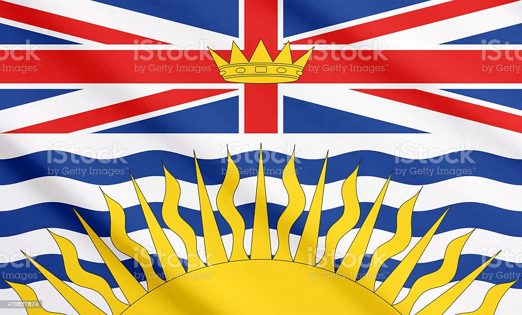 Flag of British Columbia waving stock photo