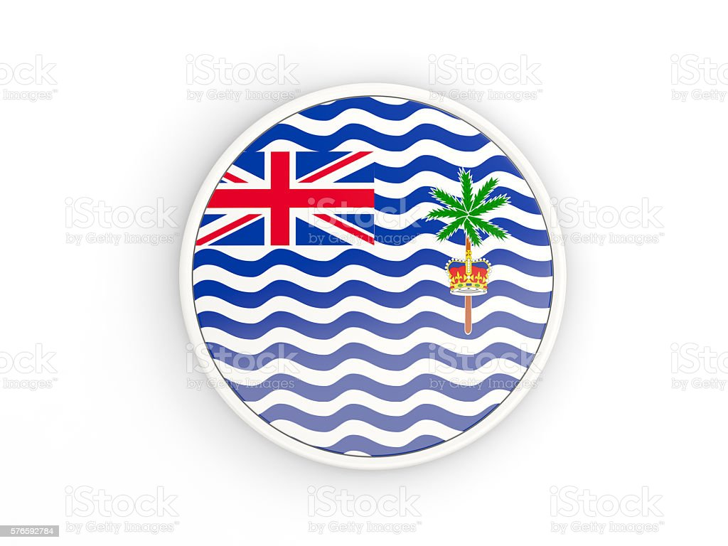 flag of british indian ocean territory round icon with frame stock