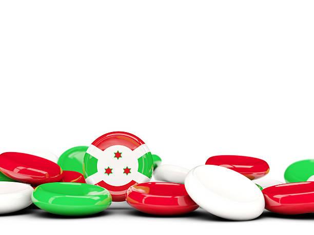 Flag Of Burundi Round Buttons Stock Photo - Download Image