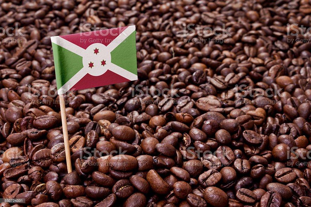 Flag of Burundi sticking in coffee beans.(series) stock photo